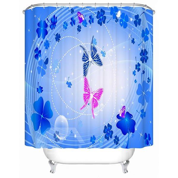 Romantic Blue Clip Art Butterfly Print Bathroom Shower Curtain