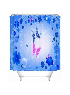 Romantic Blue Clip Art Butterfly Print Bathroom Shower Curtain