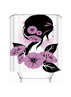Beautiful Girl with Fink Flowers in Long Hair 3D Printing Shower Curtain