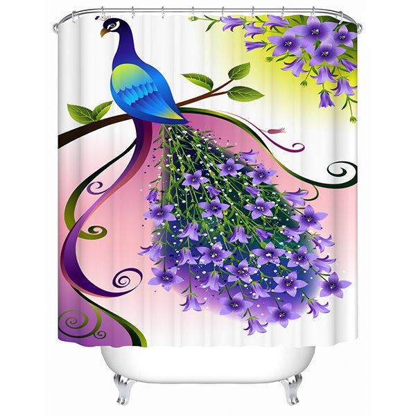 Clip Art Peacock Print 3D Bathroom Shower Curtain
