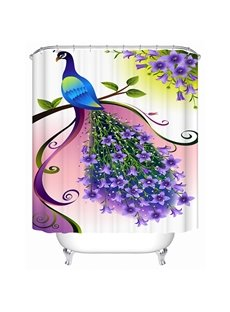 Clip Art Peacock Print 3D Bathroom Shower Curtain