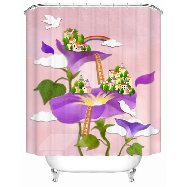 Interesting Village on the Flowers Print 3D Bathroom Shower Curtain