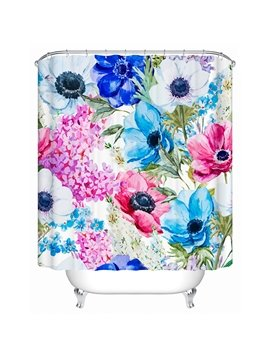 Color Drawing Flowers Print 3D Bathroom Shower Curtain