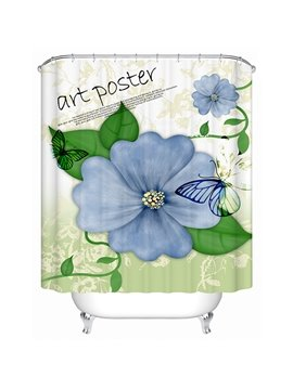 Hand Painting Blue Flowers Print 3D Bathroom Shower Curtain