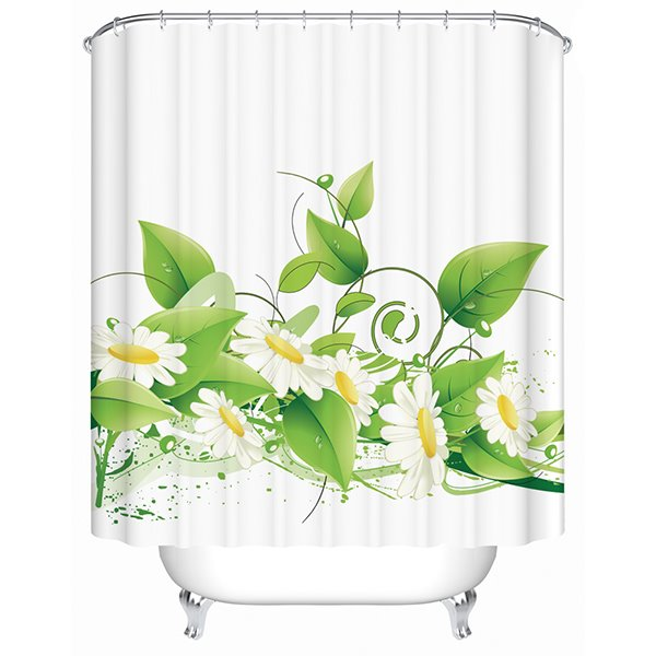 Concise White Sunflowers Print Bathroom Shower Curtain