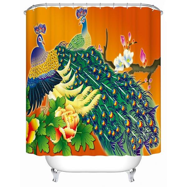Luxury Peacock Print Bathroom Shower Curtain