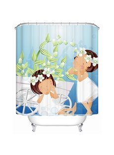 Cartoon Girls with White Dress Print Bathroom Shower Curtain