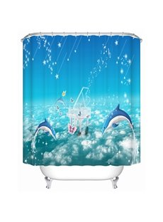 Cartoon Dolphins Leaping in the Sea Print Bathroom Shower Curtain