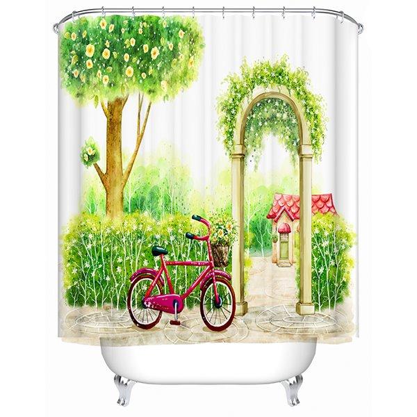 Hand-Painted Garden Door Print Bathroom Shower Curtain