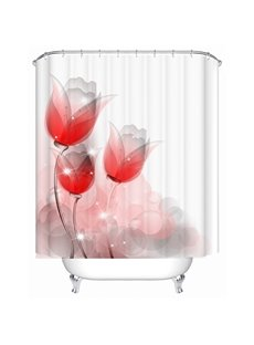 Freehand Ink Red Flowers Print Bathroom Shower Curtain