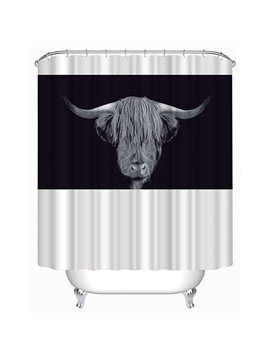 Black and White Highland Cattle Head Print 3D Bathroom Shower Curtain