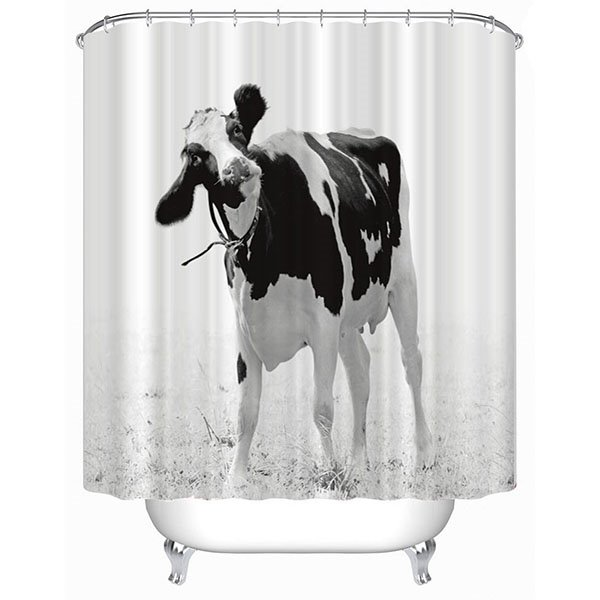 Black and White Dairy Cows Print 3D Bathroom Shower Curtain