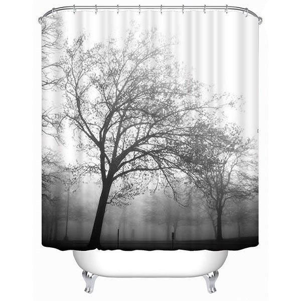 Giant Trees Silhouette Print 3D Bathroom Shower Curtain