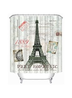 The Front View of Eiffel Tower Print 3D Bathroom Shower Curtain