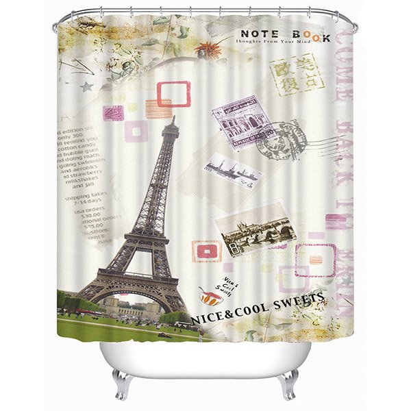Cartoon Eiffel Tower Print 3D Bathroom Shower Curtain