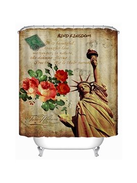 Retro Statue of Liberty Print 3D Bathroom Shower Curtain