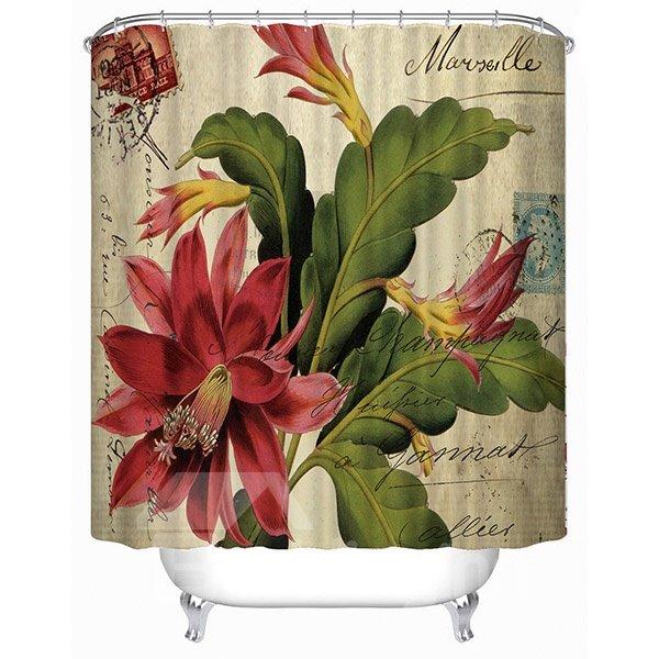 Retro Amaryllis Print 3D Bathroom Shower Curtain