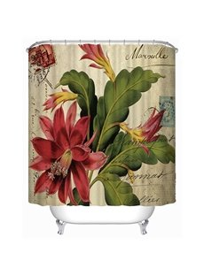 Retro Amaryllis Print 3D Bathroom Shower Curtain