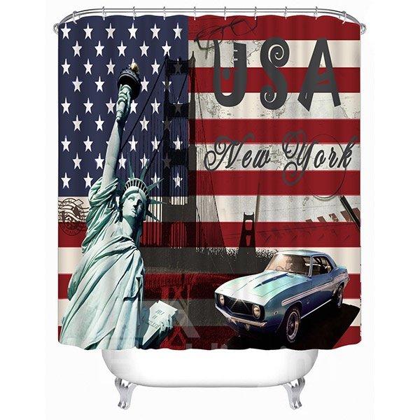 European Style United States Flag Print 3D Bathroom Shower Curtain