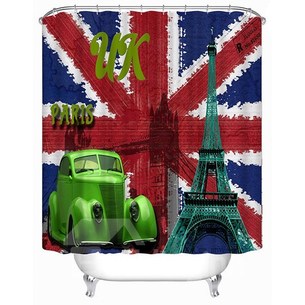 European Style United Kingdom Flag Print 3D Bathroom Shower Curtain