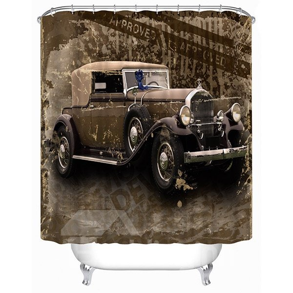 Retro Classic Car Print 3D Bathroom Shower Curtain
