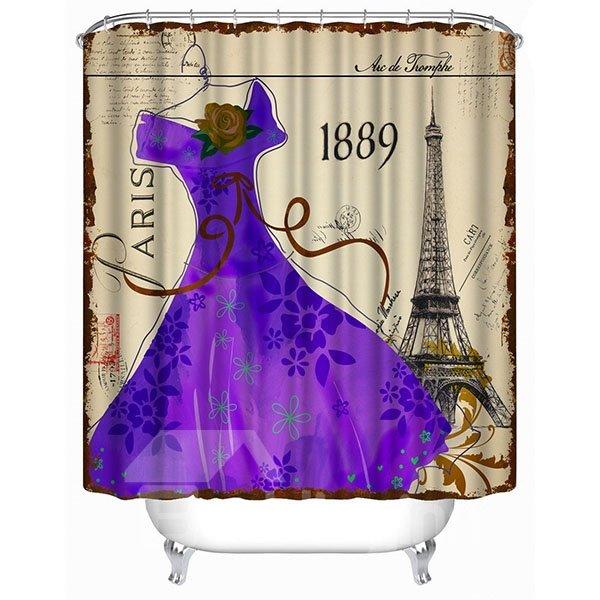 The Purple Dress in Fashion of 19th Century Print 3D Bathroom Shower Curtain