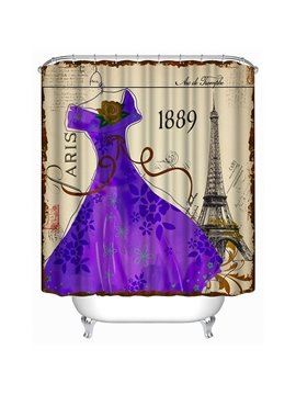 The Purple Dress in Fashion of 19th Century Print 3D Bathroom Shower Curtain