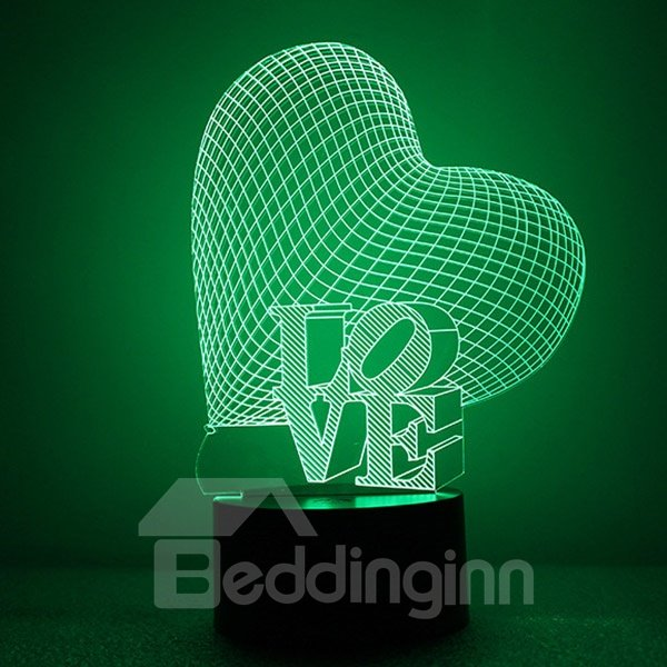 Beautiful Acrylic Heart and Love Shape LED Nightlight