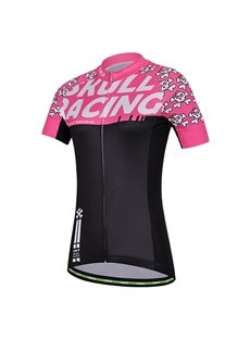 Female Pink Cartoon Skull Road Bike Jersey with Zipper Sponged Cycling Suit