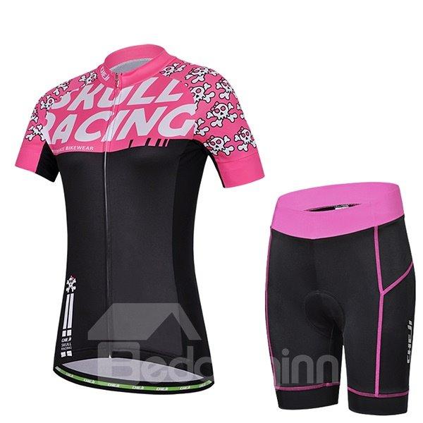 Female Pink Cartoon Skull Road Bike Jersey with Zipper Sponged Cycling Suit