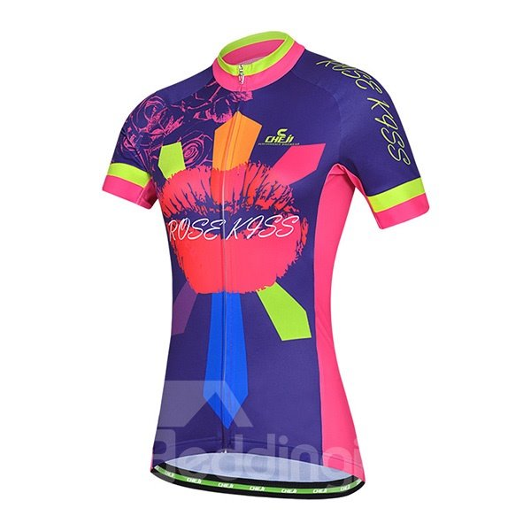 Female Road Bike Jersey with Zipper Kiss Pattern Sponged Cycling Suit