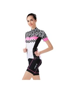 Female Scrawl Pattern Road Bike with Jersey Sponged Short Cycling Suit