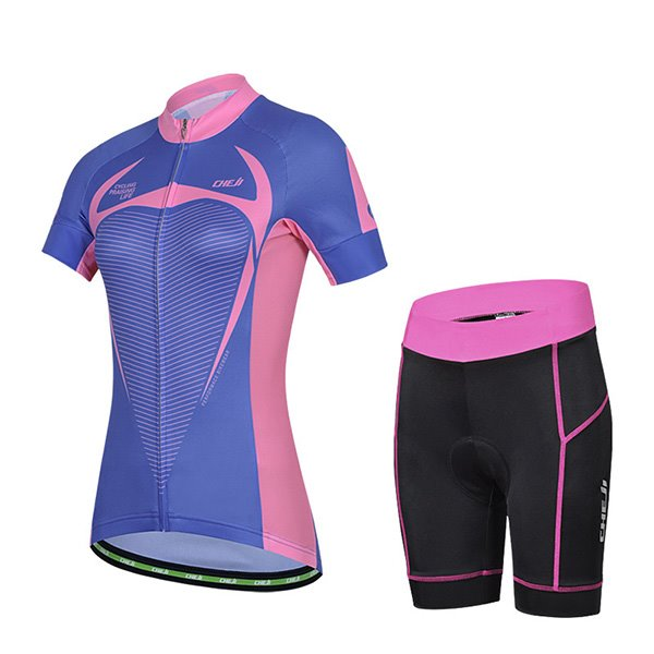 Female Purple Breathable Road Bike Jersey with Zipper Sponged Short Cycling Suit