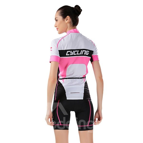 Female White and Pink Nifty Breathable Jersey with Zipper Sponged Short Cycling Suit