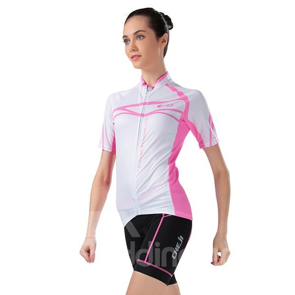 Female Simple White Road Bike Jersey with Zipper Sponged Short Cycling Suit