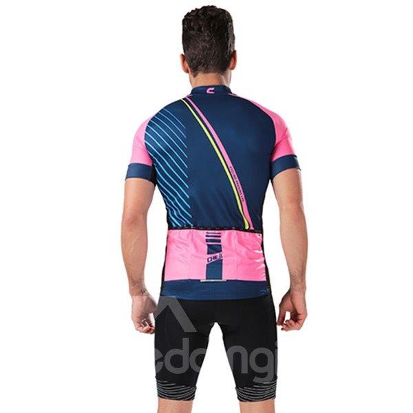 Male Purple Breathable Modern Road Bike Jersey with Zipper Sponged Short Cycling Suit