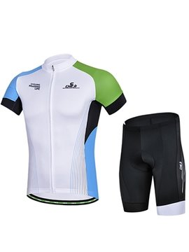 Male White Simple Jersey with Zipper 3D Padded Short Cycling Suit