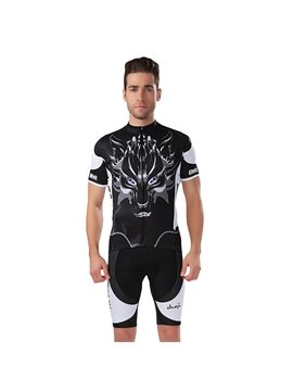 Male Black Wolf Pattern Road Bike Jersey with Zipper Sponged Short Cycling Suit