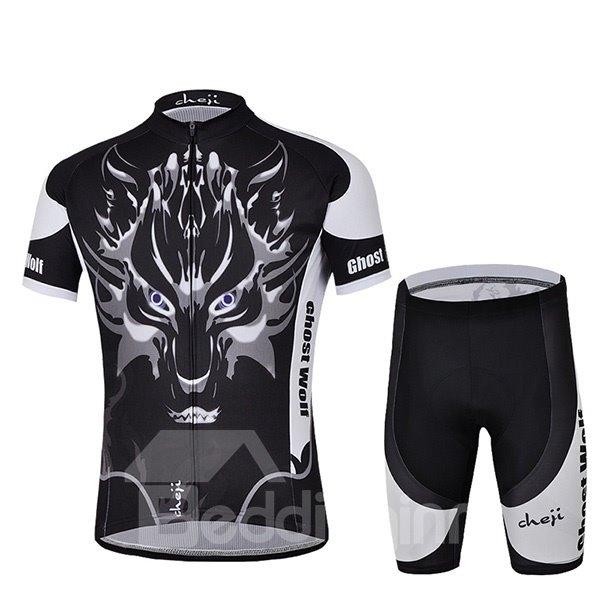 Male Black Wolf Pattern Road Bike Jersey with Zipper Sponged Short Cycling Suit