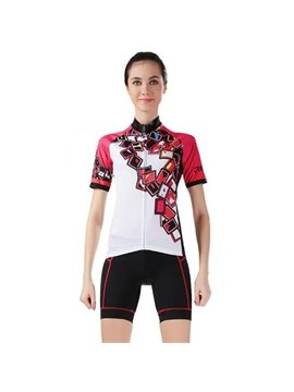 Female White Poker Pattern Bike Jersey with Zipper Sponged Short Cycling Suit