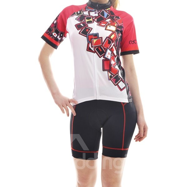 Female White Poker Pattern Bike Jersey with Zipper Sponged Short Cycling Suit