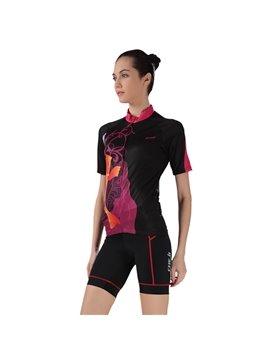 Female Black Road Bike Crap Pattern Jersey with Zipper Sponged Cycling Suit