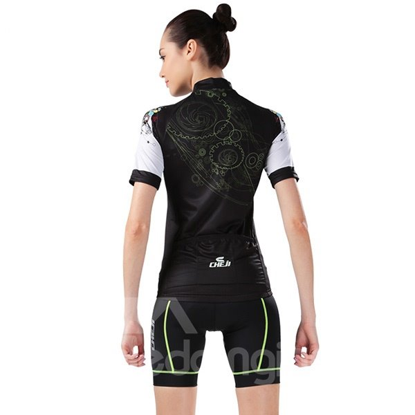 Female Black Breathable Jersey with Zipper Sponged Cycling Short Sleeve Suit