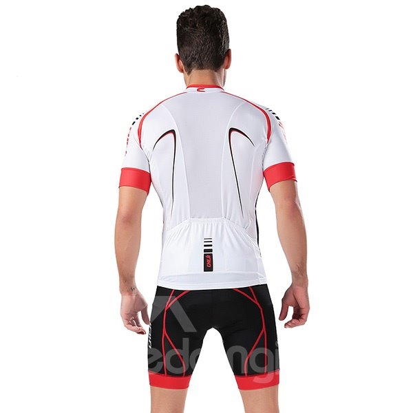 Male White and Red Breathable Jersey with Zipper Sponged Cycling Suit