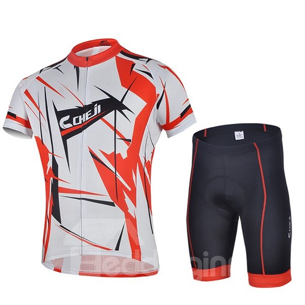 Male Red Bike Jersey with Zipper Sponged Short Cycling Suit