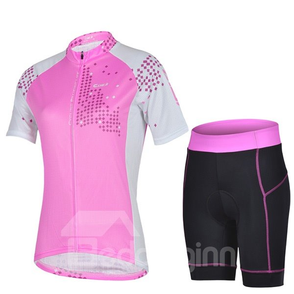 Female Breathable Pink Road Bike Sponged Short 3D Padded Cycling Suit
