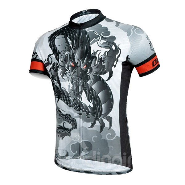 Male Black Dragon Pattern Breathable Quick Dry 3D Padded Cycling Short Sleeve Suit