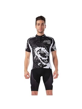 Male Dragon Pattern Jersey with Zipper Sponged Bike 3D Padded Cycling Suit