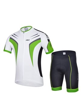 Male Green Breathable Bicycle Jersey with Zipper 3D Padded Short Cycling Suit