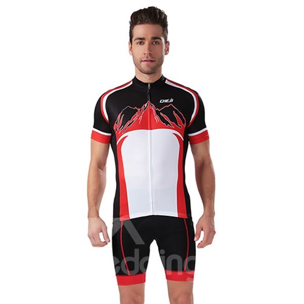 Male Black 3D Padded Short Breathable Jersey with Zipper Quick-Dry Cycling Suit